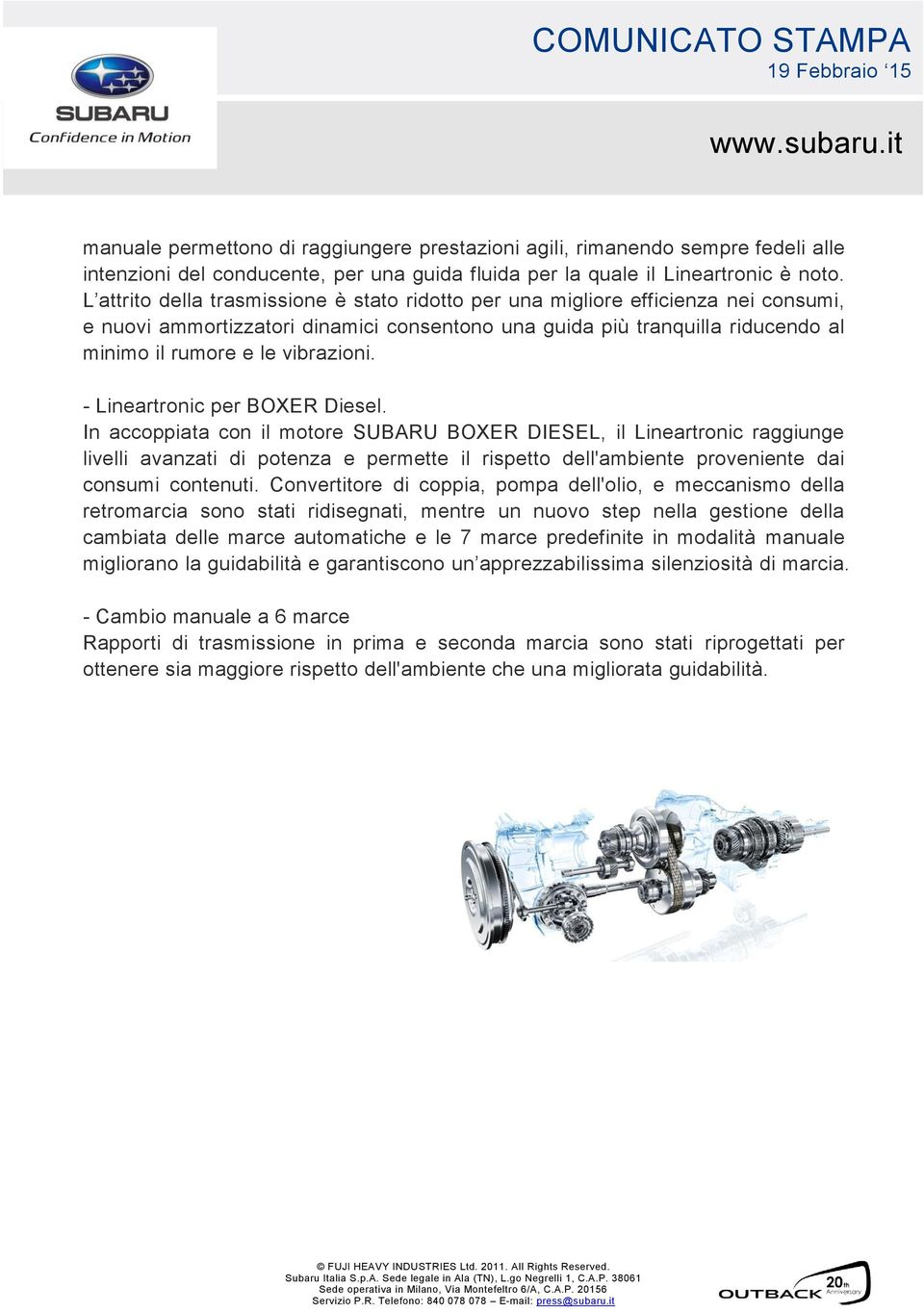 - Lineartronic per BOXER Diesel.