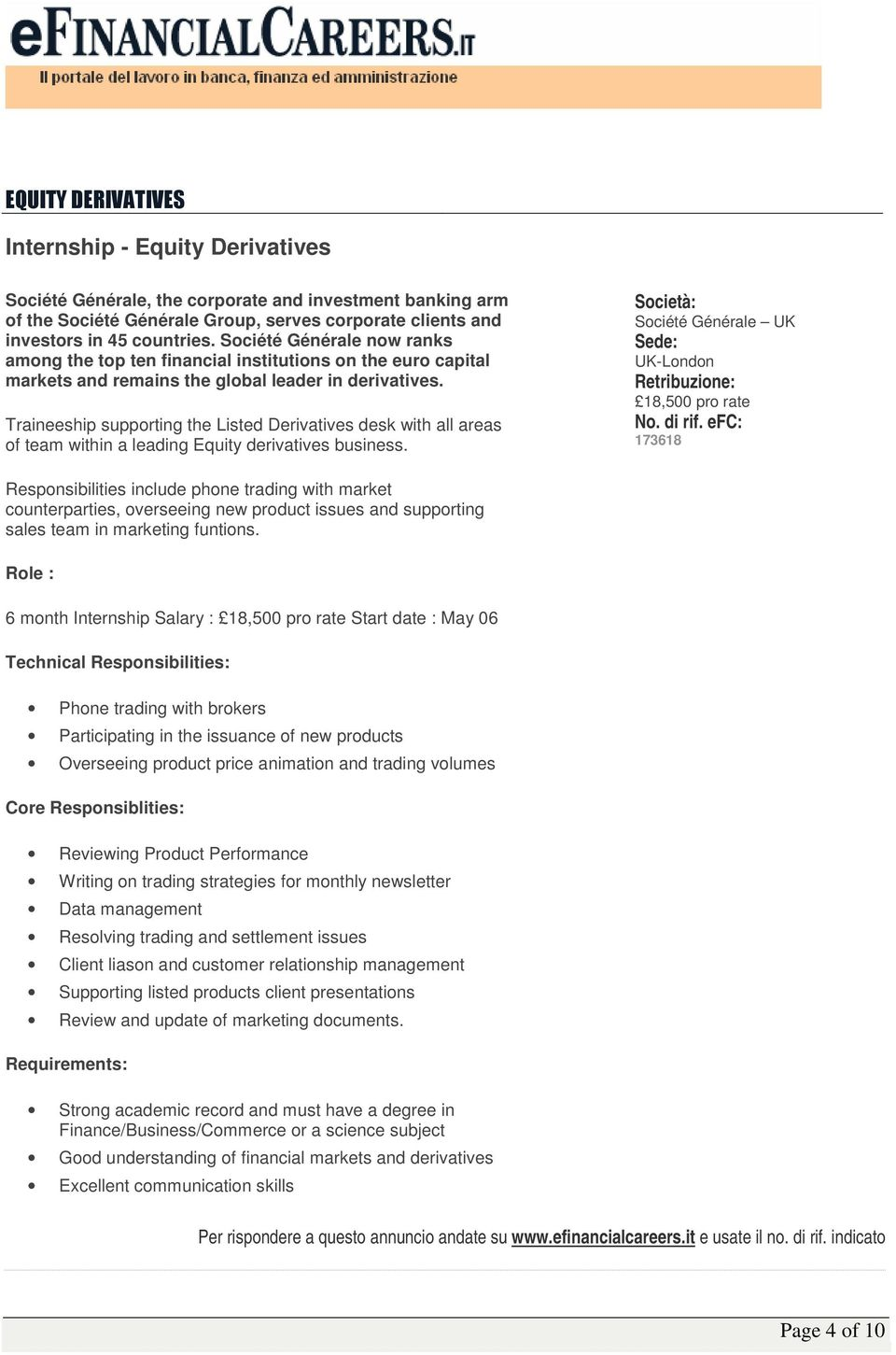 Traineeship supporting the Listed Derivatives desk with all areas of team within a leading Equity derivatives business.