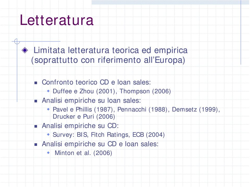 sales: Pavel e Phillis (1987), Pennacchi (1988), Demsetz (1999), Drucker e Puri (2006) Analisi