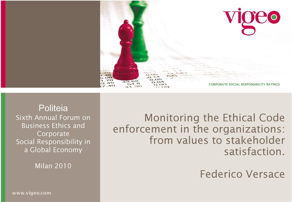 Milan 2010 Monitoring the Ethical Code enforcement in the