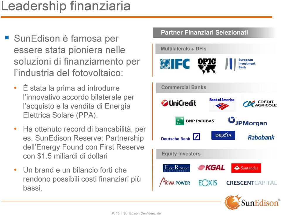 Ha ottenuto record di bancabilità, per es. SunEdison Reserve: Partnership dell Energy Found con First Reserve con $1.