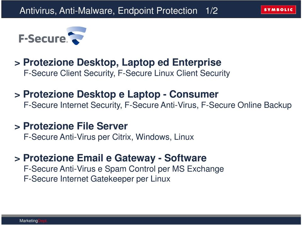 F-Secure Anti-Virus, F-Secure Online Backup > Protezione File Server F-Secure Anti-Virus per Citrix, Windows, Linux