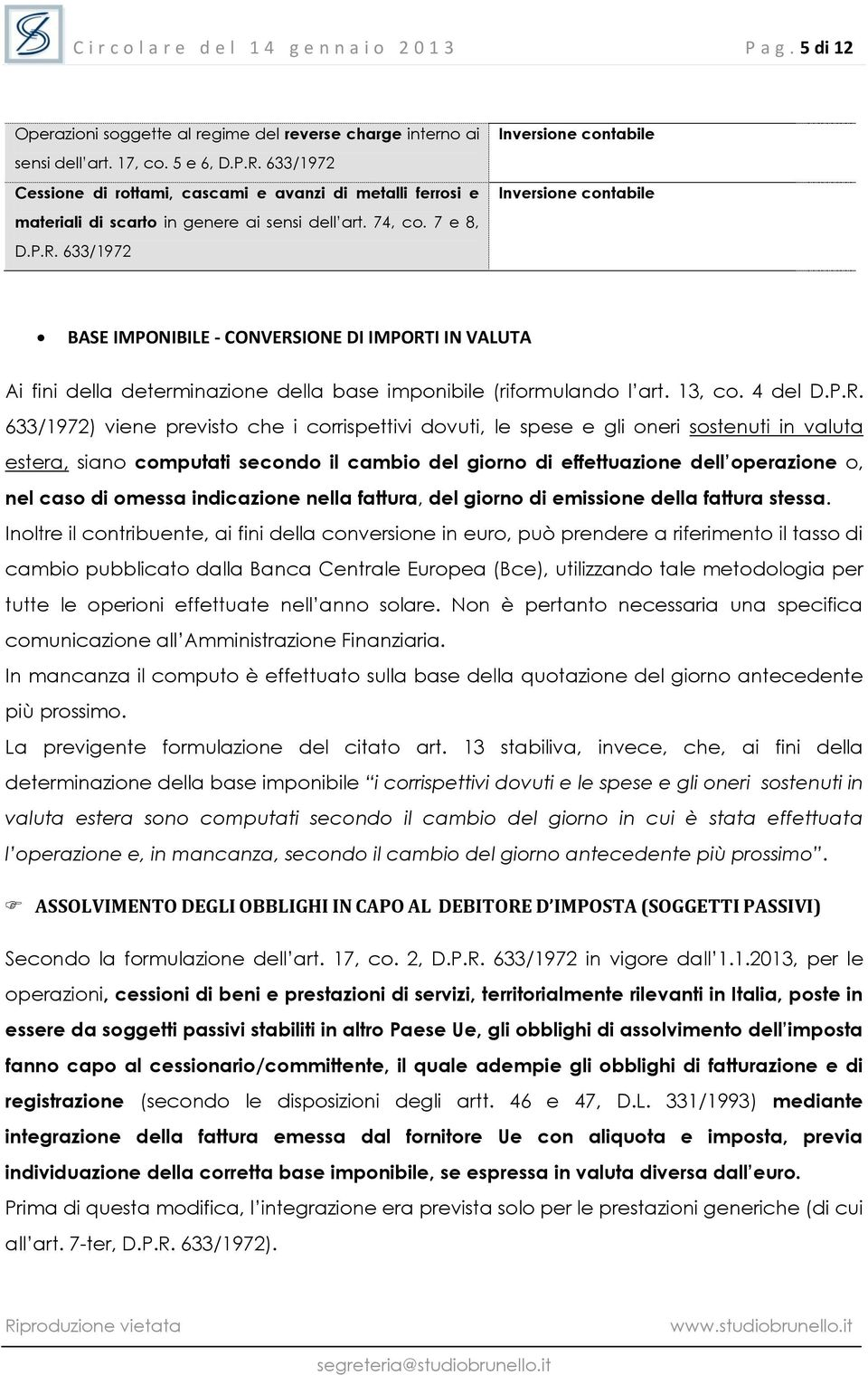 633/1972 Inversione contabile Inversione contabile BASE IMPONIBILE - CONVERS