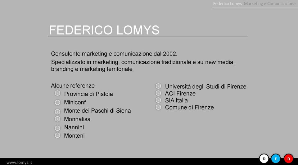 marketing territoriale Alcune referenze Provincia di Pistoia Miniconf Monte dei