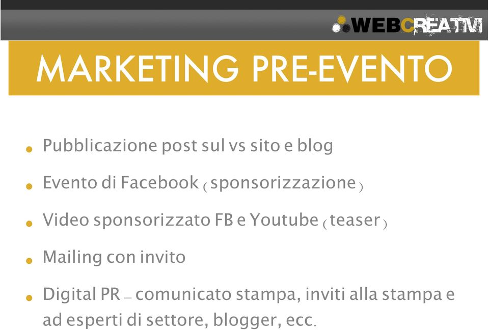 e Youtube (teaser) Mailing con invito Digital PR - comunicato