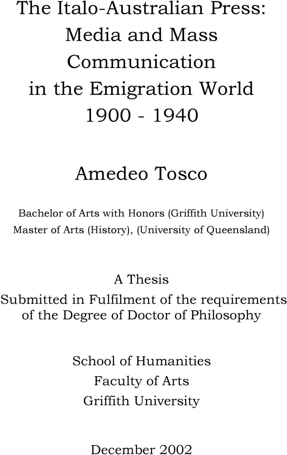 (University of Queensland) A Thesis Submitted in Fulfilment of the requirements of the