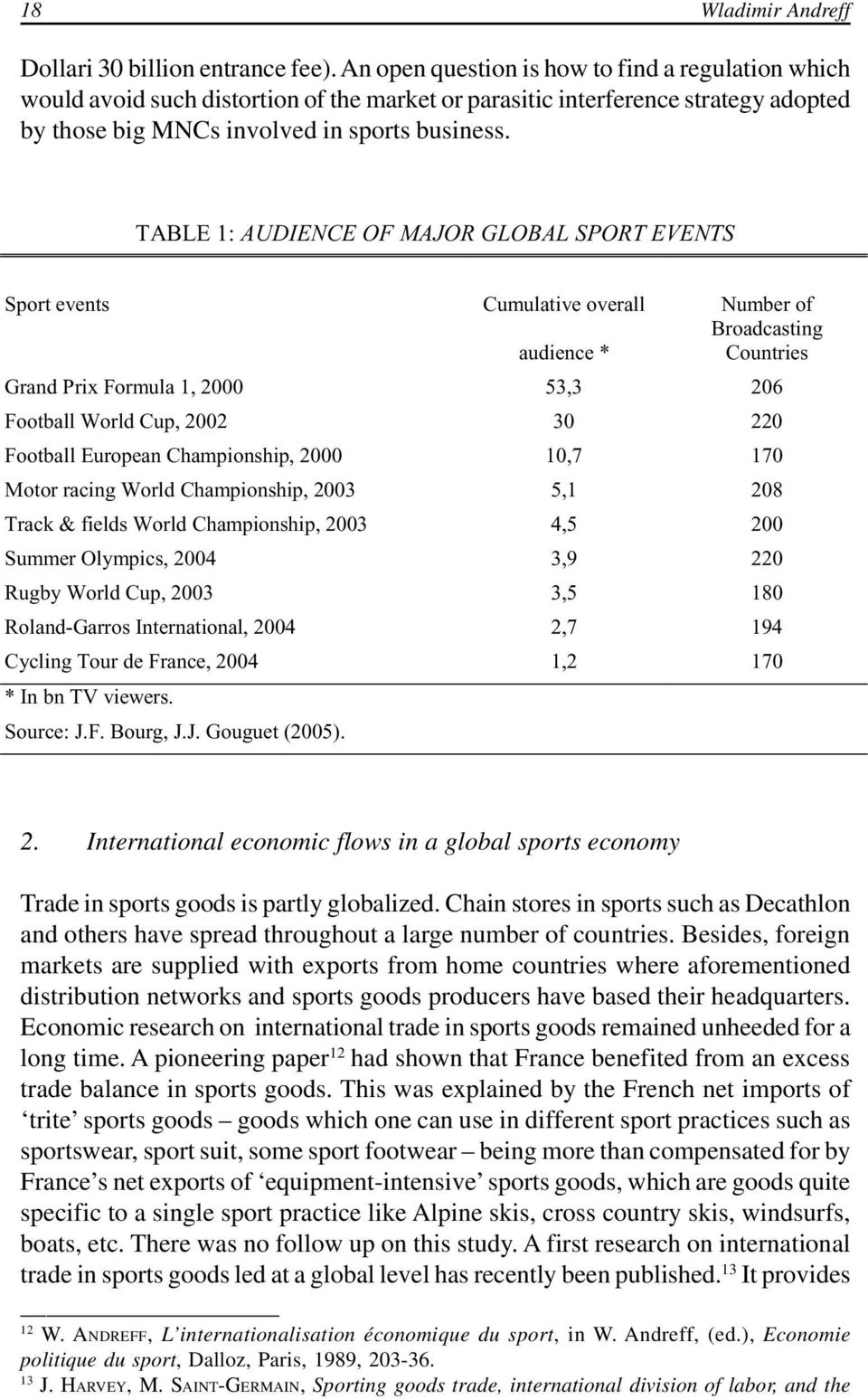 TABLE 1: AUDIENCE OF MAJOR GLOBAL SPORT EVENTS Sport events Cumulative overall Number of Broadcasting audience * Countries Grand Prix Formula 1, 2000 53,3 206 Football World Cup, 2002 30 220 Football