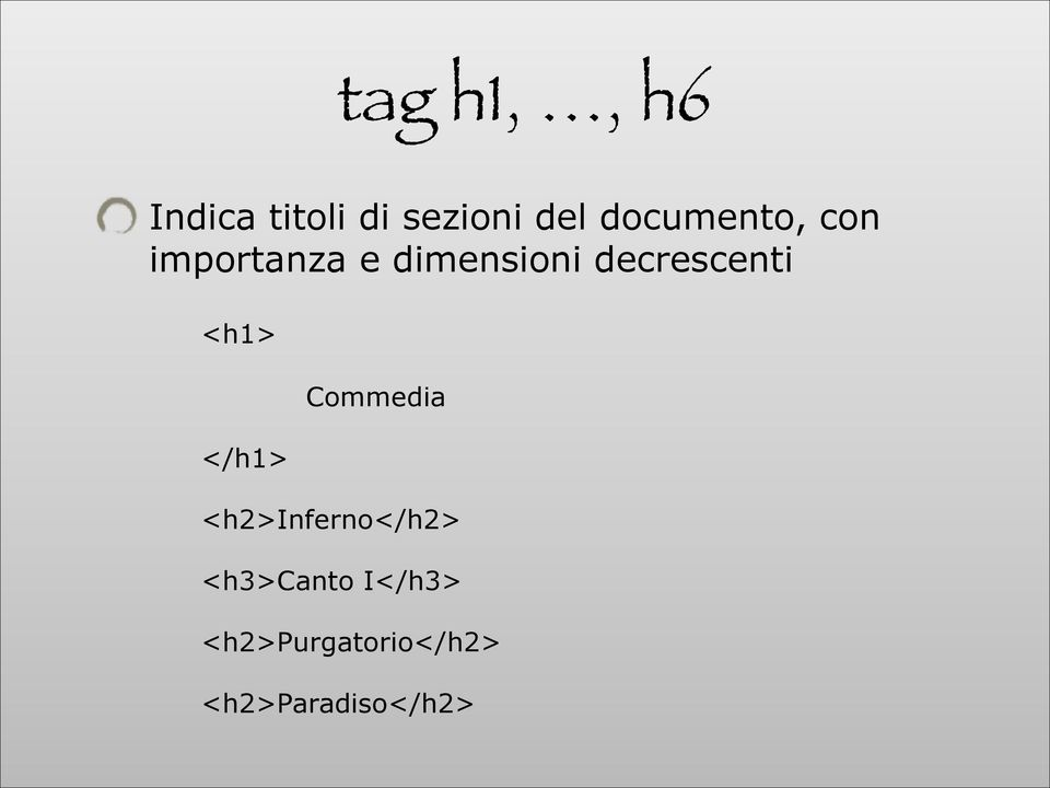 decrescenti <h1> </h1> Commedia