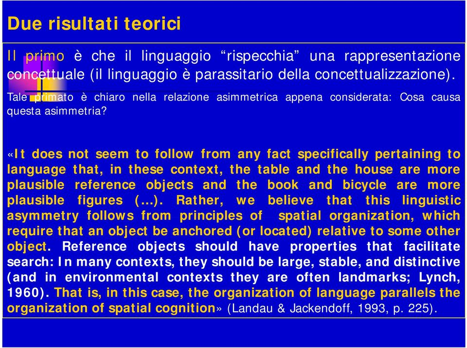 «It does not seem to follow from any fact specifically pertaining to language g that, in these context, the table and the house are more plausible reference objects and the book and bicycle are more