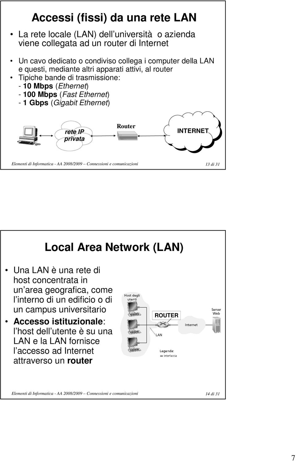 (Gigabit Ethernet) rete IP privata Router INTERNET 13 di 31 Local Area Network (LAN) Una LAN è una rete di host concentrata in un area geografica, come l interno di
