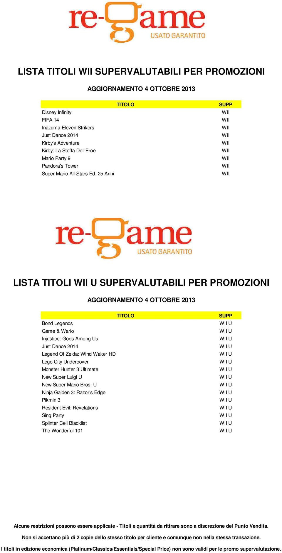 25 Anni LISTA TITOLI SUPERVALUTABILI PER PROMOZIONI Bond Legends Game & Wario Injustice: Gods Among Us Just Dance 2014 Legend Of Zelda: