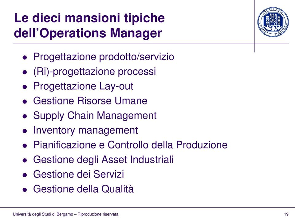 Risorse Umane Supply Chain Management Inventory management Pianificazione e