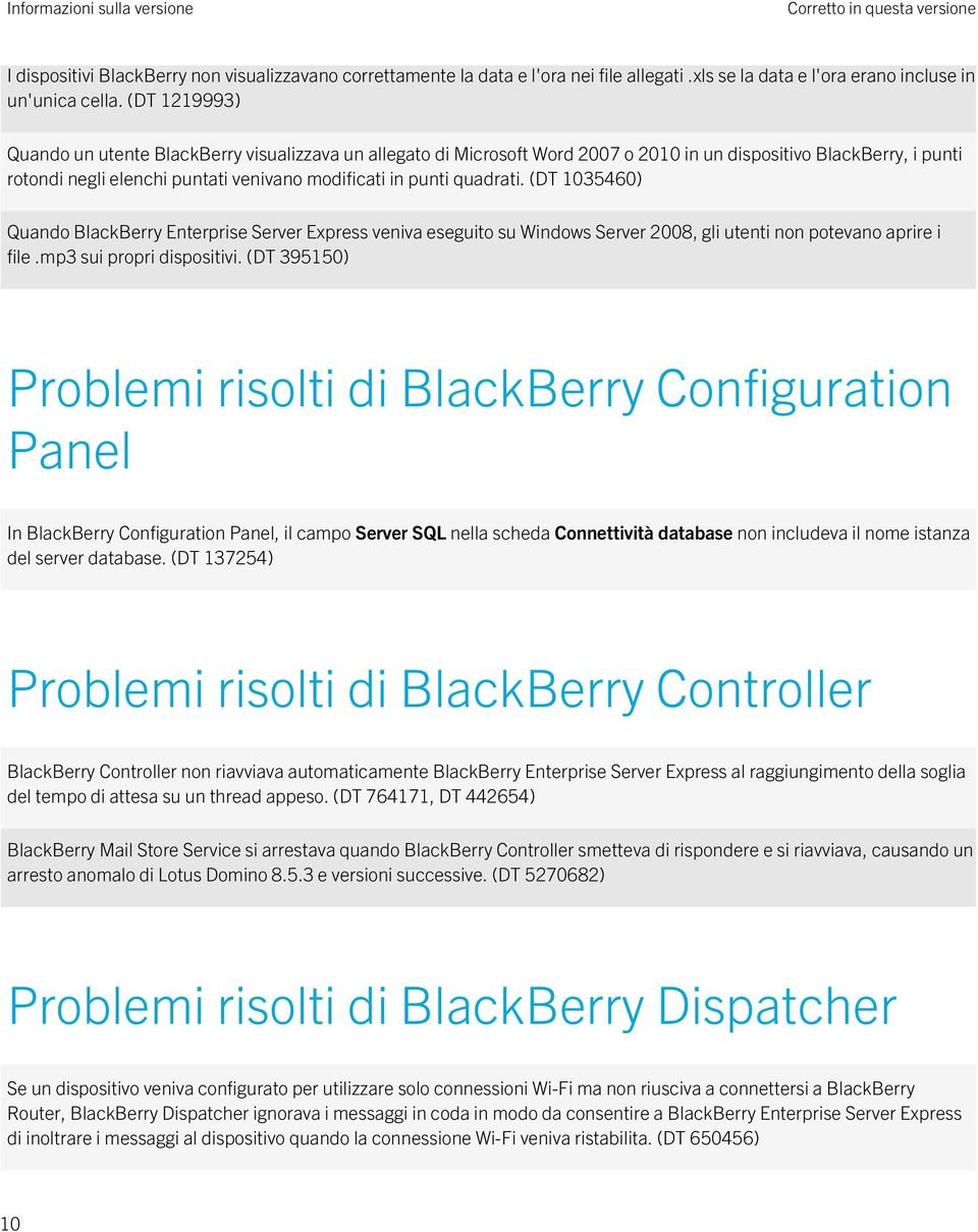 quadrati. (DT 1035460) Quando BlackBerry Enterprise Server Express veniva eseguito su Windows Server 2008, gli utenti non potevano aprire i file.mp3 sui propri dispositivi.