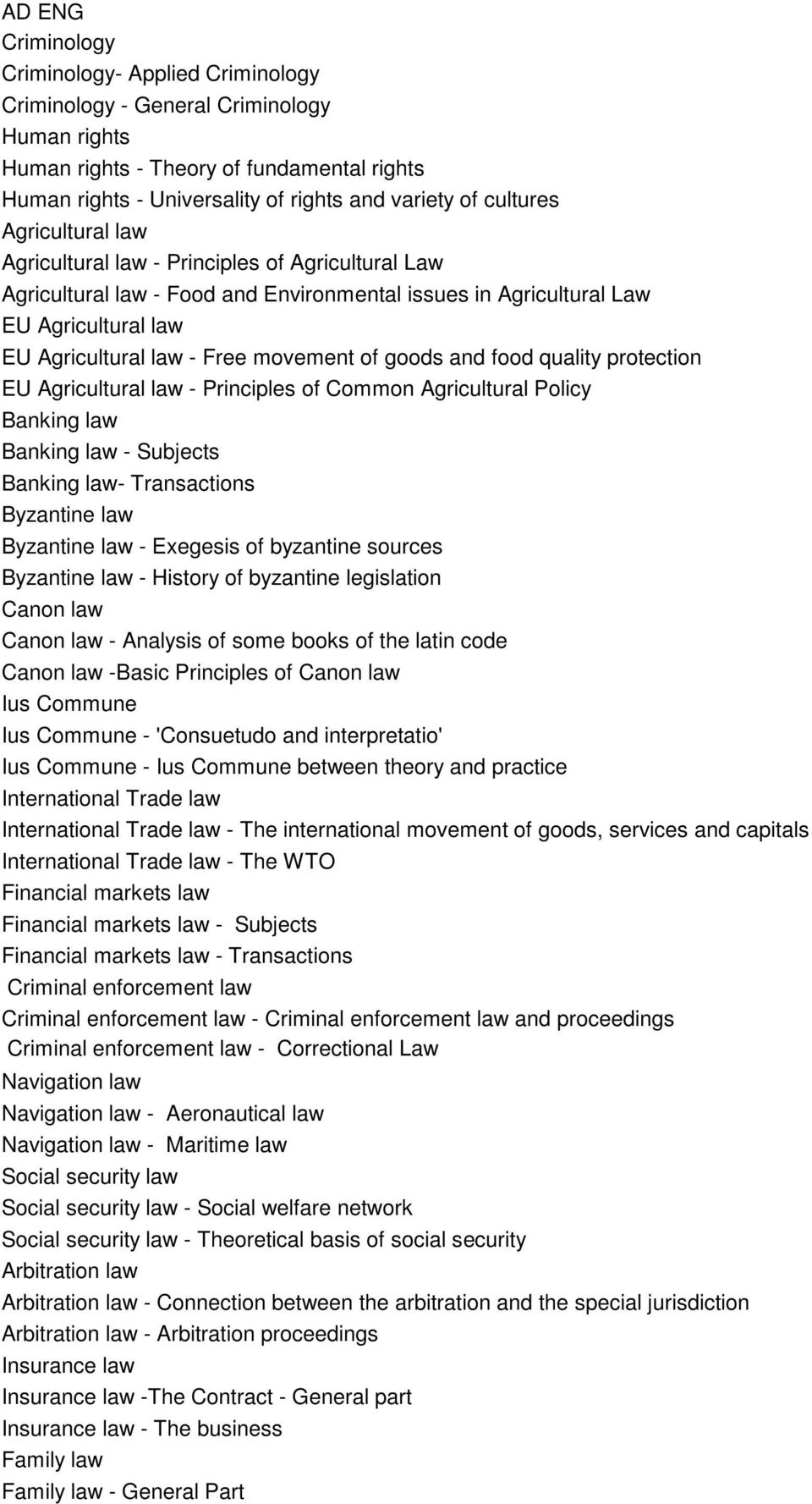 movement of goods and food quality protection EU Agricultural law - Principles of Common Agricultural Policy Banking law Banking law - Subjects Banking law- Transactions Byzantine law Byzantine law -