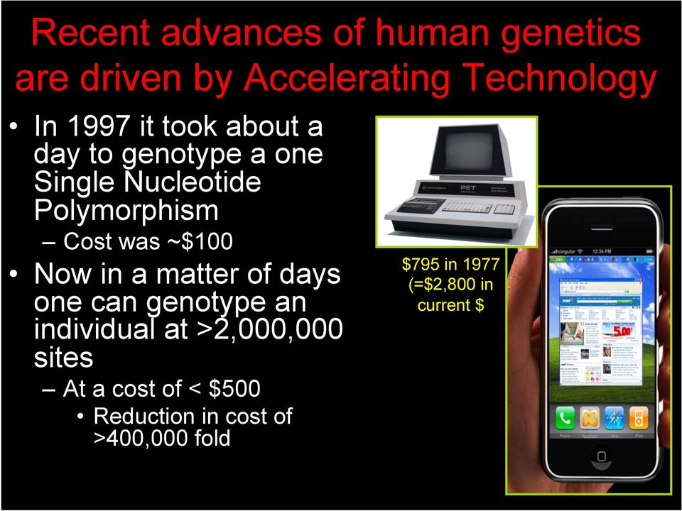 ~$100 Now in a matter of days one can genotype an individual at >2,000,000 sites
