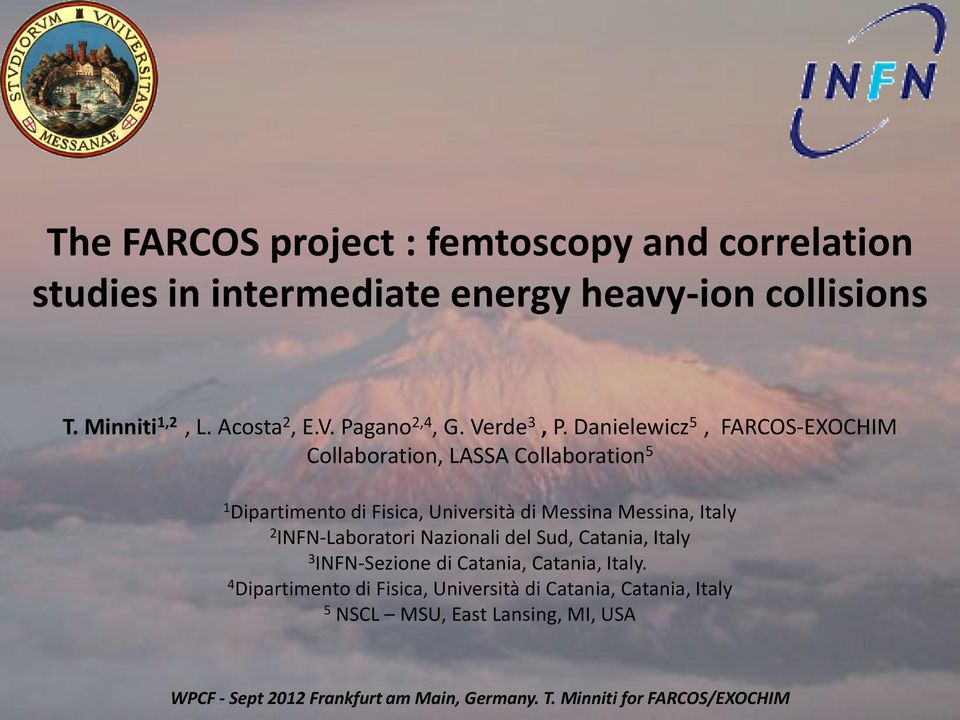Danielewicz 5, FARCOS-EXOCHIM Collaboration, LASSA Collaboration 5 1 Dipartimento di Fisica, Università di Messina