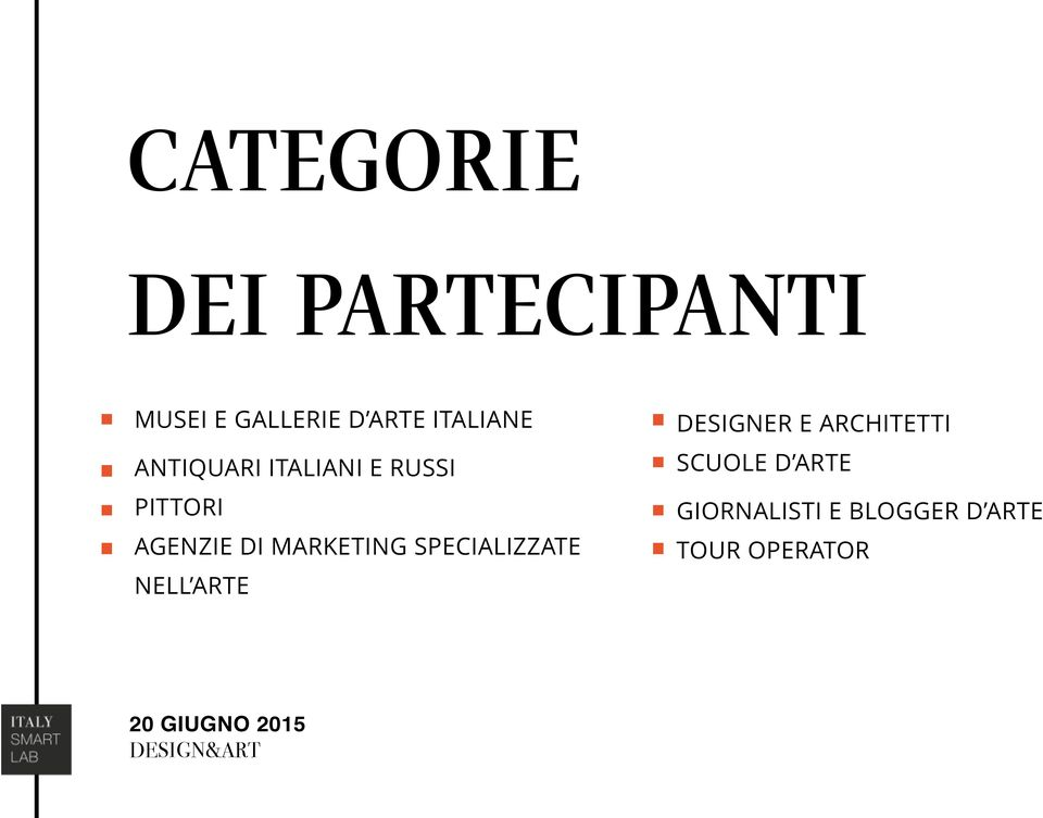 MARKETING SPECIALIZZATE NELL ARTE DESIGNER E