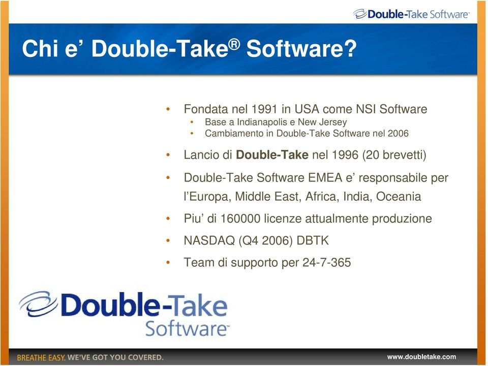 Double-Take Software nel 2006 Lancio di Double-Take nel 1996 (20 brevetti) Double-Take