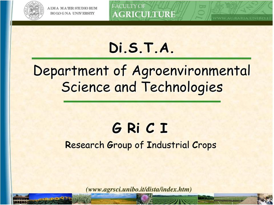 Agroenvironmental Science and Technologies G Ri C I
