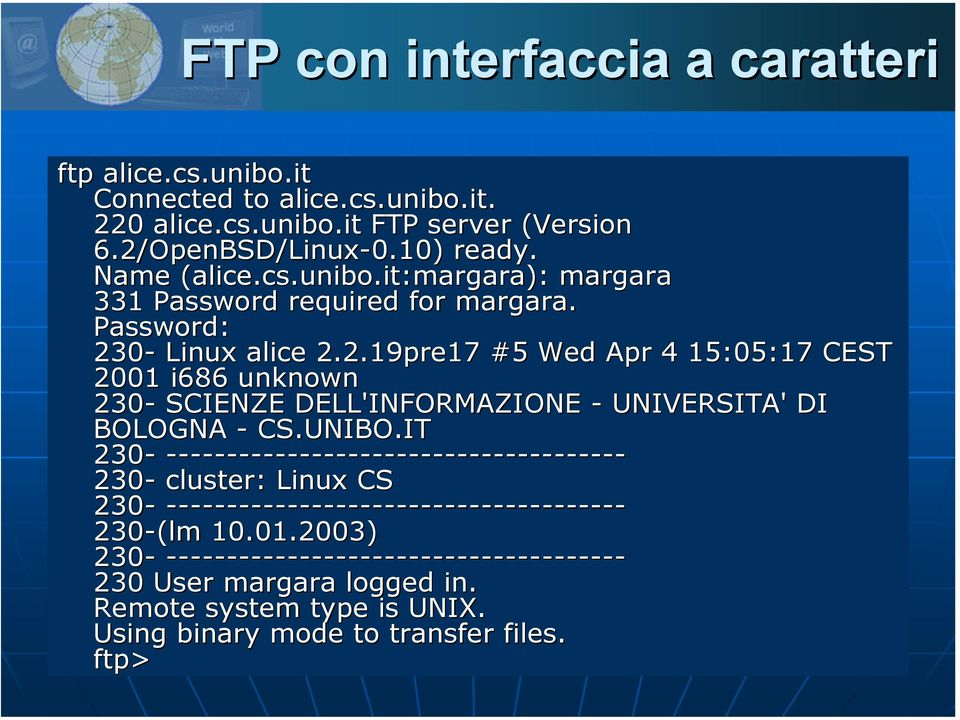 0- Linux alice 2.2.19pre17 #5 Wed Apr 4 15:05:17 CEST 2001 i686 unknown 230- SCIENZE DELL'INFORMAZIONE - UNIVERSITA' DI BOLOGNA - CS.UNIBO.