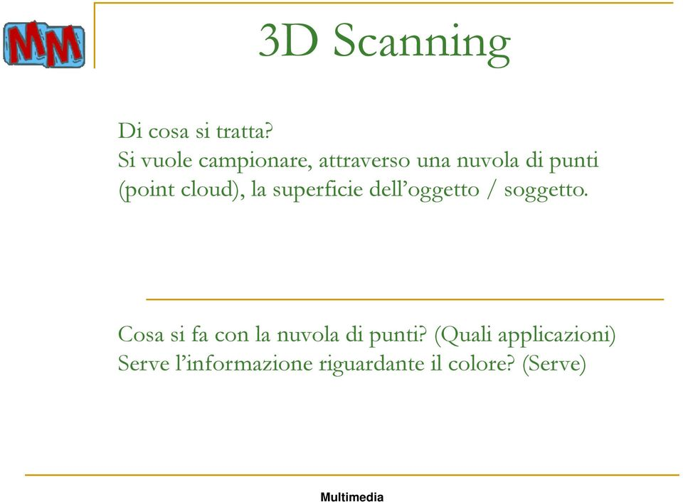 (point cloud), la superficie dell oggetto / soggetto.