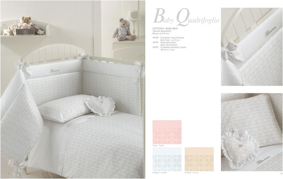 Baby-bed bumper 49302 Completo lenzuola 3 pezzi Sheet-set