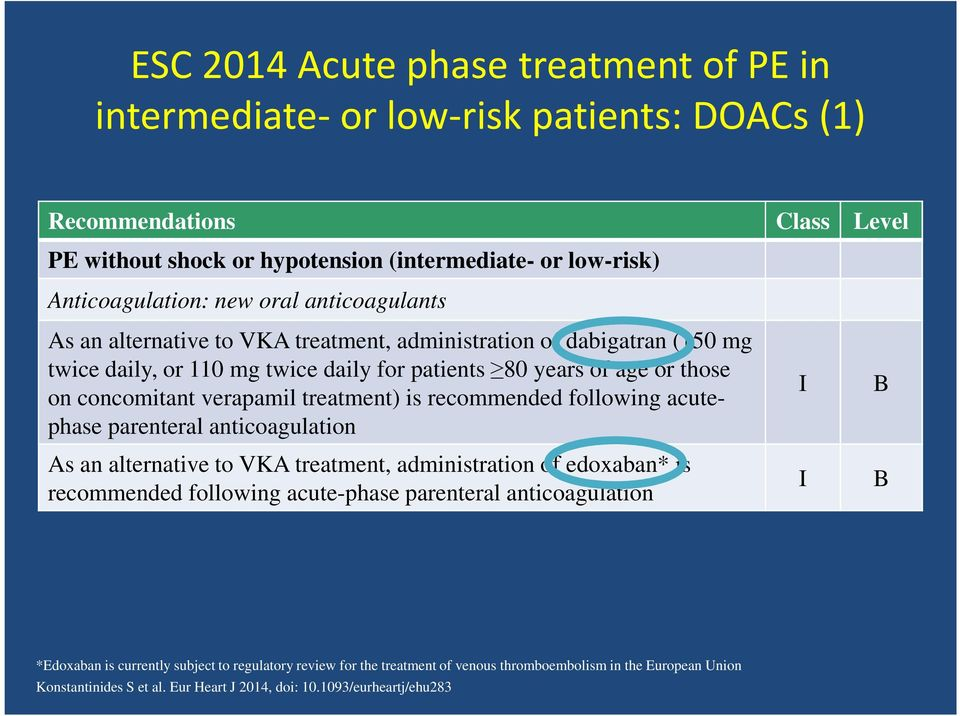 treatment) is recommended following acutephase parenteral anticoagulation As an alternative to VKA treatment, administration of edoxaban* is recommended following acute-phase parenteral
