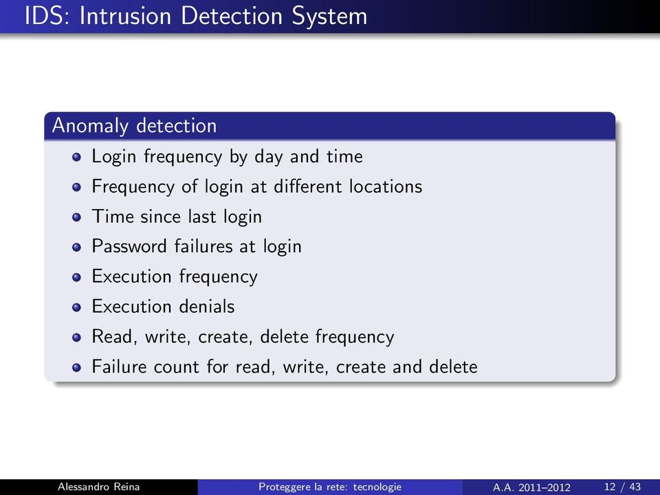 frequency Execution denials Read, write, create, delete frequency Failure count for read,