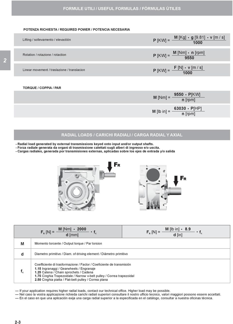 [rpm] 63030 [H] n [rpm] RADIAL LOADS / CARICHI RADIALI / CARGA RADIAL Y AXIAL Radial load generated by external transmissions keyed onto input and/or output shafts.