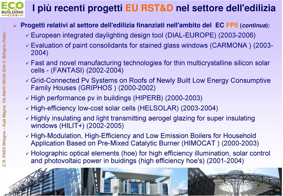 (FANTASI) (2002-2004) Grid-Connected Pv Systems on Roofs of Newly Built Low Energy Consumptive Family Houses (GRIPHOS ) (2000-2002) High performance pv in buildings (HIPERB) (2000-2003)