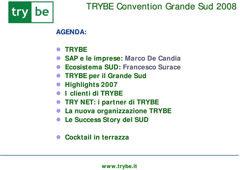 Sud Highlights 2007 I clienti di TRYBE TRY NET: i partner di TRYBE