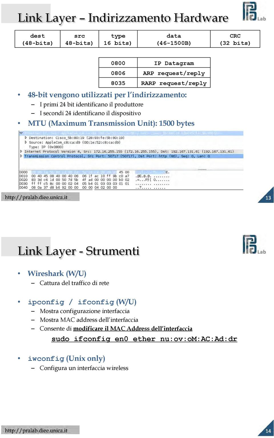 Unit): 1500 bytes Link Layer - Strumenti Wireshark (W/U) Cattura del traffico di rete ipconfig / ifconfig (W/U) Mostra configurazione interfaccia Mostra MAC address