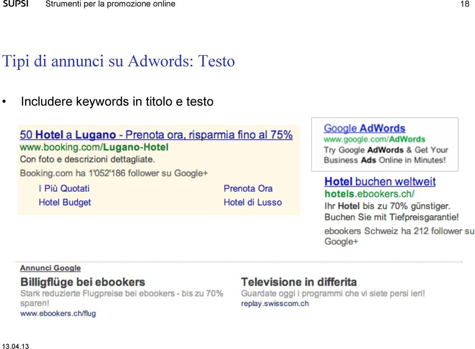 Includere keywords