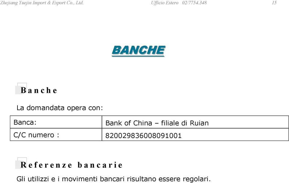 China filiale di Ruian C/C numero : 820029836008091001 Referenze