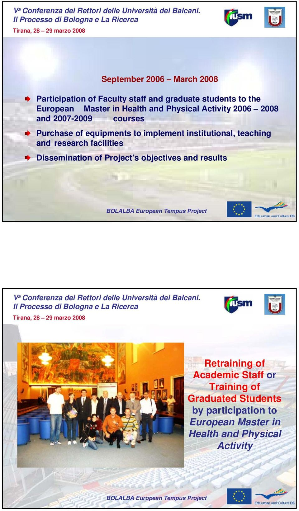 institutional, teaching and research facilities Dissemination of Project s objectives and results