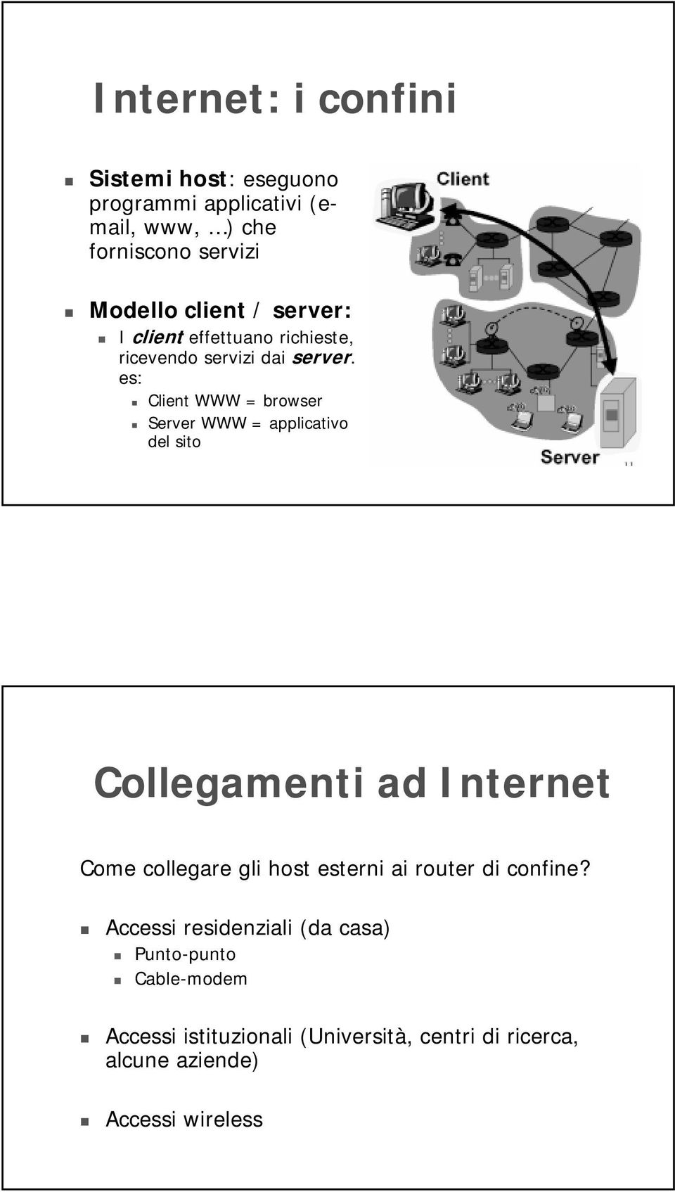 es: Client WWW = browser Server WWW = applicativo del sito Collegamenti ad Internet Come collegare gli host esterni