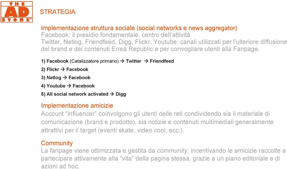 1) Facebook (Catalizzatore primario) Twitter Friendfeed 2) Flickr Facebook 3) Netlog Facebook 4) Youtube Facebook 5) All social network activated Digg Implementazione amicizie Account influencer