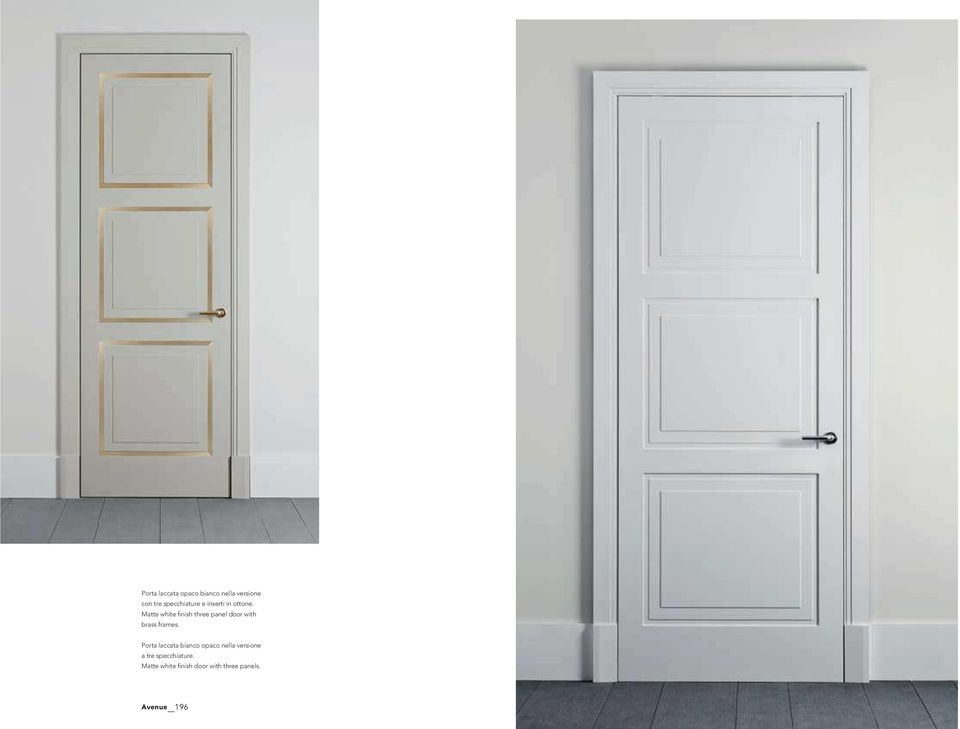 Matte white finish three panel door with brass frames.