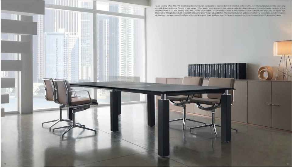 / Office meeting table, 300x120 cm, black leather 140 upholstered. Central aluminium slots for cable collection with hinge.