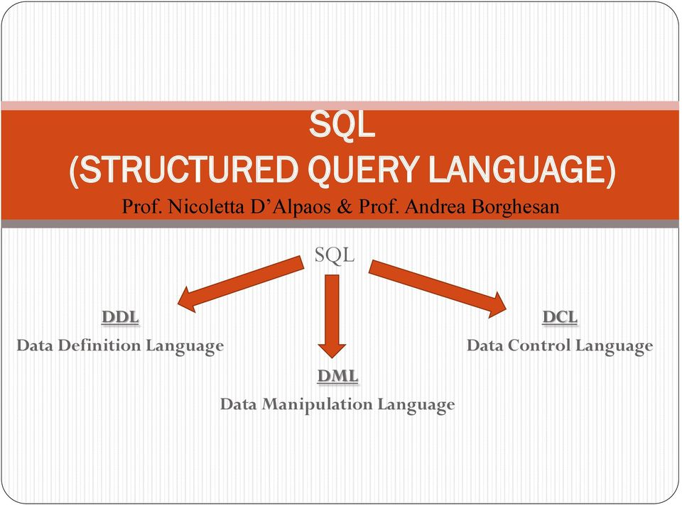 Andrea Borghesan SQL DDL Data Definition