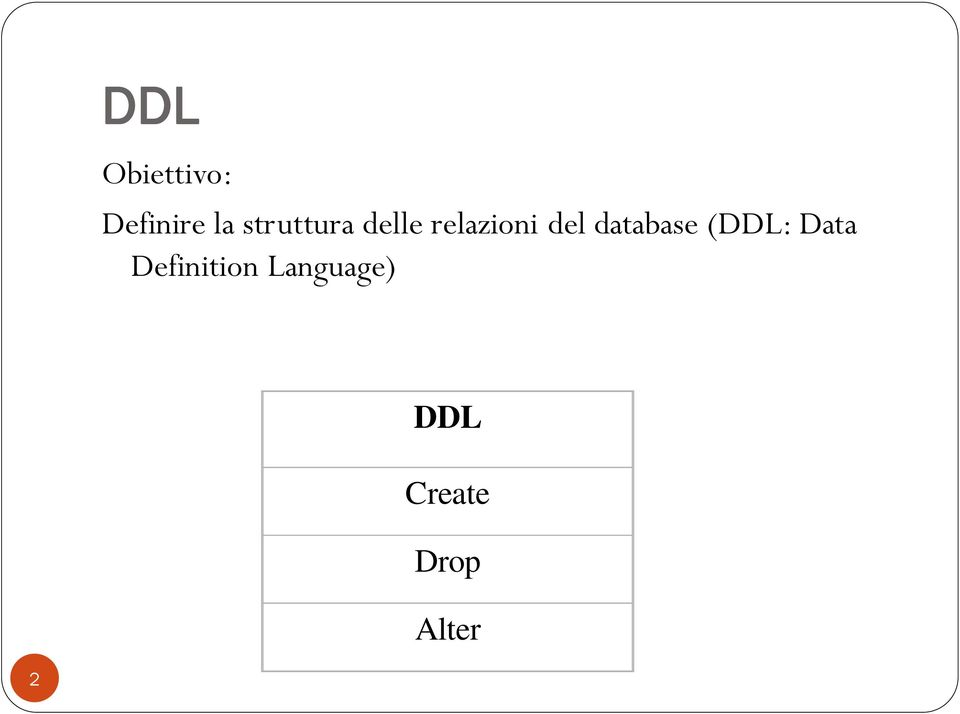 database (DDL: Data Definition