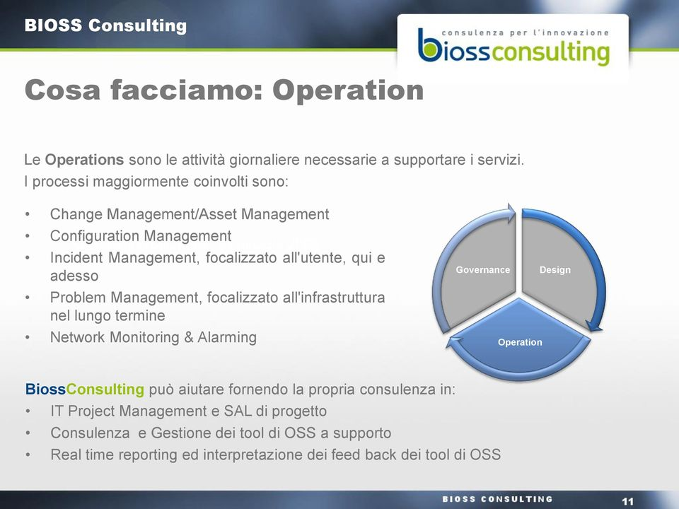 adesso Problem Management, focalizzato all'infrastruttura nel lungo termine Network Monitoring & Alarming Governance Operation Design BiossConsulting