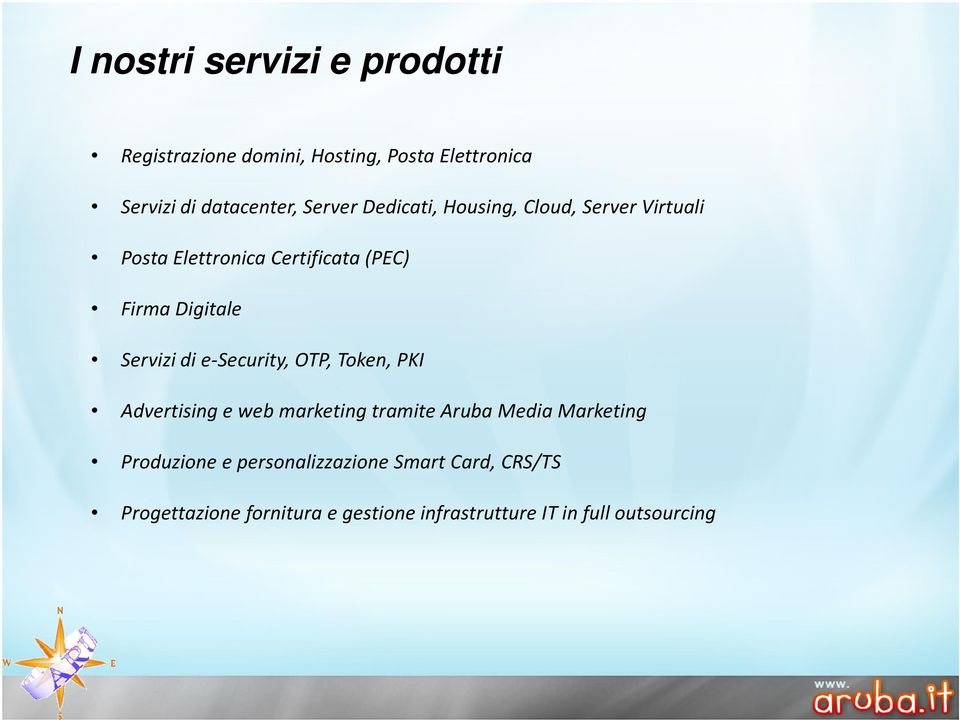 Servizi di e-security, OTP, Token, PKI Advertising e web marketing tramite Aruba Media Marketing