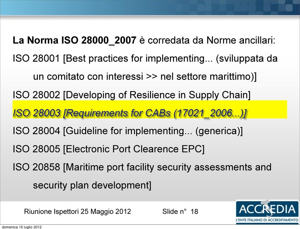 Supply Chain] ISO 28003 [Requirements for CABs (17021_2006...)] ISO 28004 [Guideline for implementing.