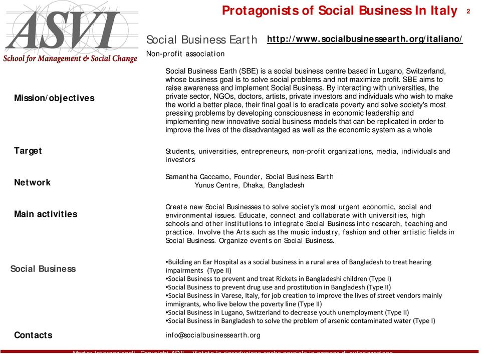 SBE aims to raise awareness and implement Social Business.