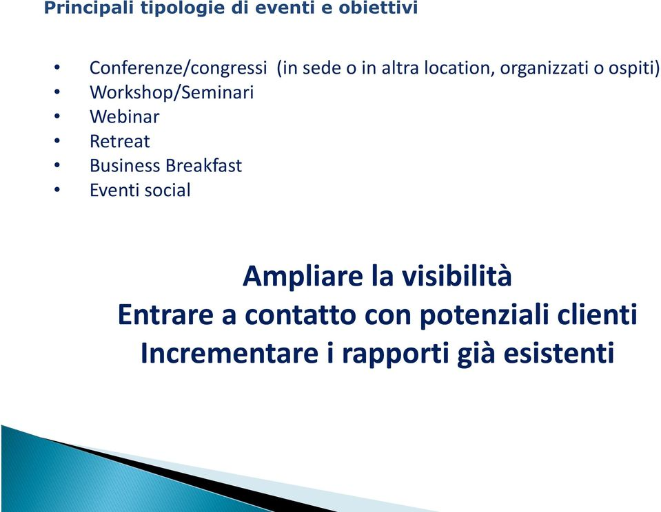 Webinar Retreat Business Breakfast Eventi social Ampliare la visibilità