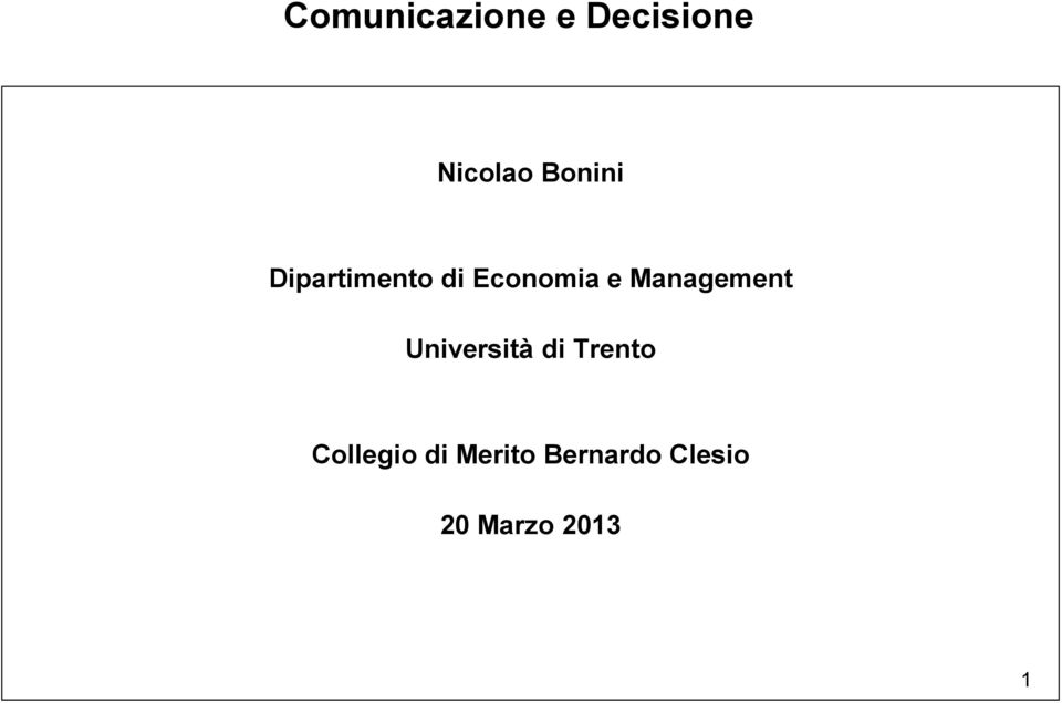 Management Università di Trento