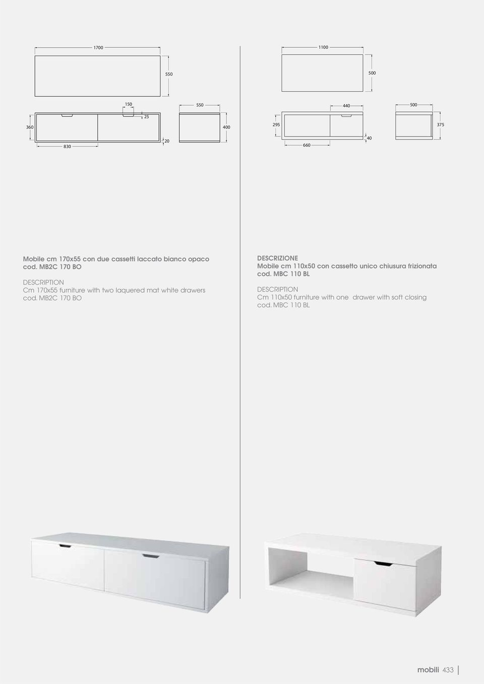 MB2C 170 BO DESCRIPTION Cm 170x55 furniture with two laquered mat white drawers cod.