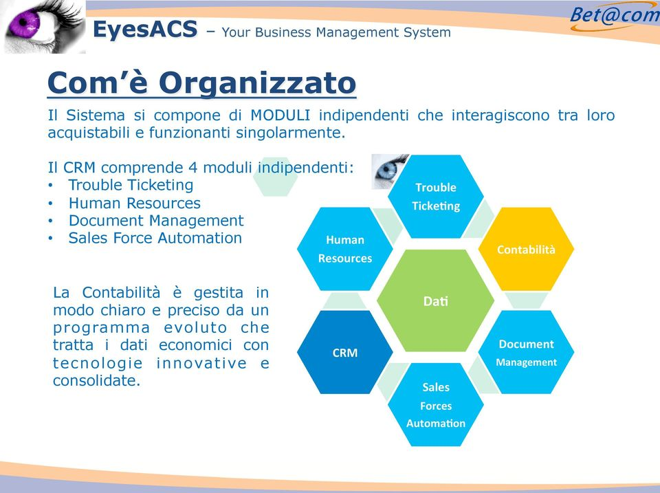 Il CRM comprende 4 moduli indipendenti: Trouble Ticketing Human Resources Document Management Sales Force Automation