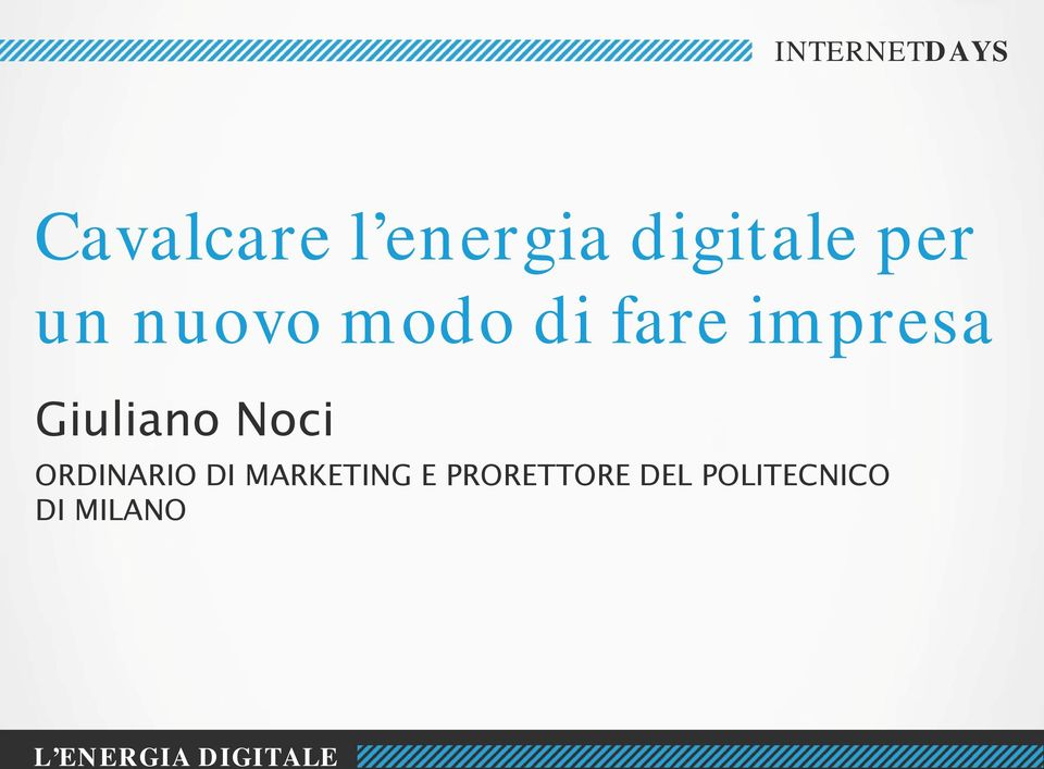 Noci ORDINARIO DI MARKETING E PRORETTORE